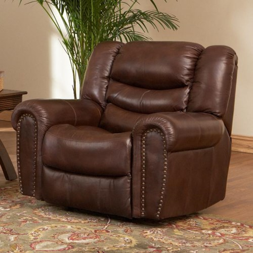 Leather Italia USA Kyle  Power Recliner with Rolled Arms