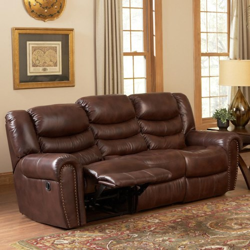 Leather Italia USA Kyle  Reclining Sofa with Rolled Arms
