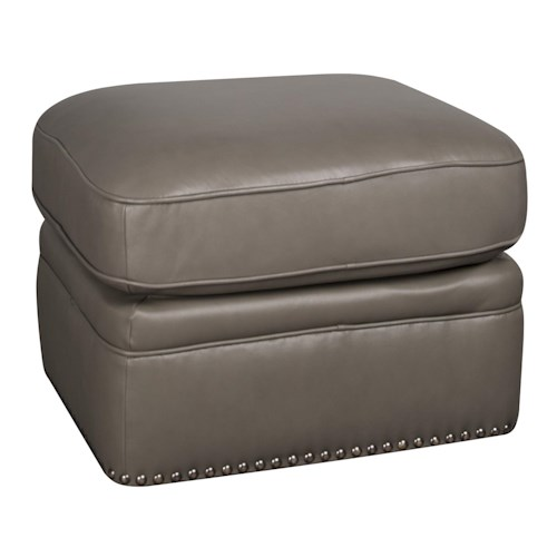 Morris Home Furnishings Maya 100% Leather Ottoman