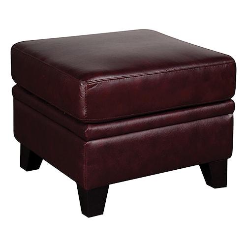 Morris Home Furnishings Rufus 100% Leather Ottoman