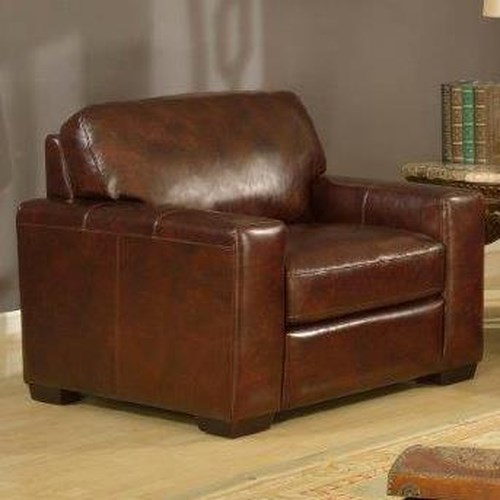 Leather Italia USA Woodburn Contemporary Track Arm Chair
