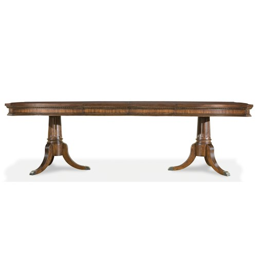 Legacy Classic American Traditions Double Pedestal Dining Table with Parqueted Veneer Top and 2 Extension Leaves