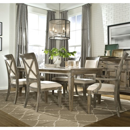 Legacy Classic Brownstone Village 7-Piece Dining Set with Leg Table with 1 18-Inch Extension Leaf, Upholstered Arm Chairs and Upholstered Side Chairs