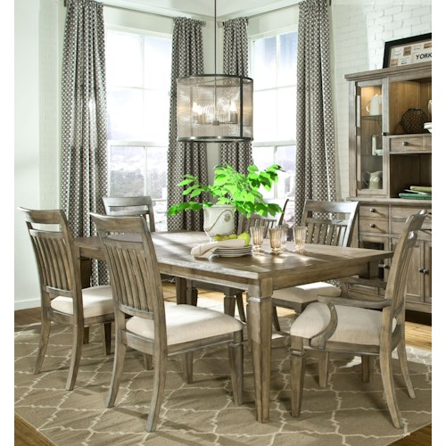 Legacy Classic Brownstone Village 7-Piece Dining Set with Rectangular Leg Table, Slat Back Side Chairs and Slat Back Arm Chairs