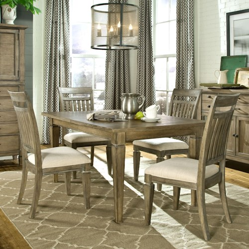 Legacy Classic Brownstone Village 5-Piece Dining Set with Leg Table and Slat Back Side Chairs