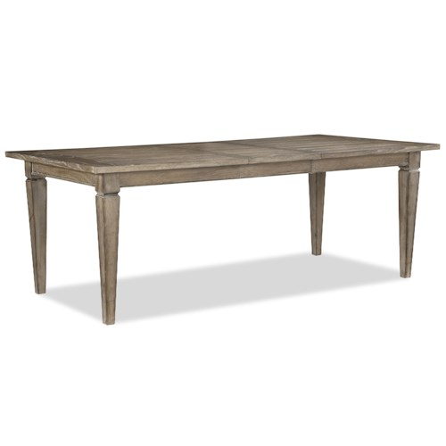 Legacy Classic Brownstone Village Casually Styled Rectangular Leg Dining Table with 18-Inch Extension Leaf