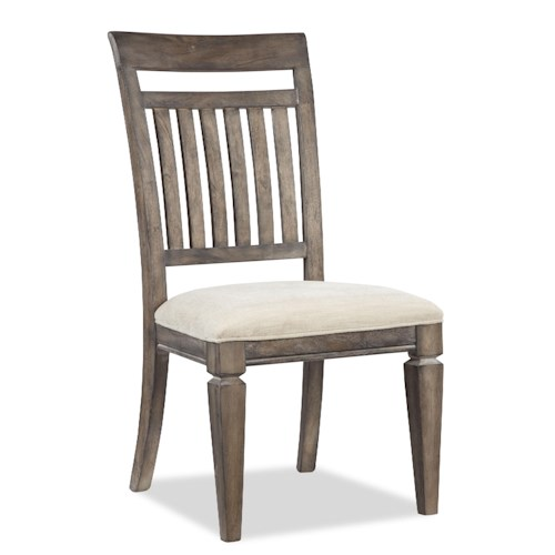 Legacy Classic Brownstone Village Slat Back Dining Side Chair with Upholstered Seat