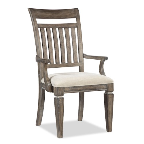 Legacy Classic Brownstone Village Slat Back Dining Arm Chair with Fabric Upholstered Seat
