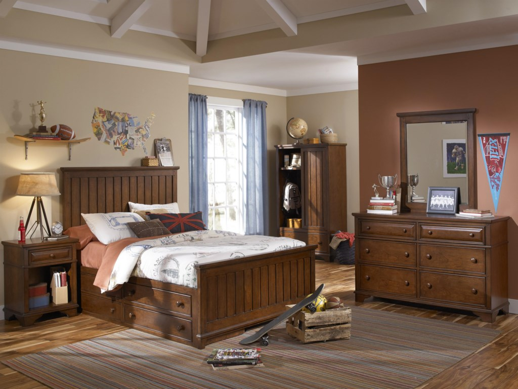 Shown with Panel Bed, Underbed Storage Unit, Nightstand, Dresser and Mirror