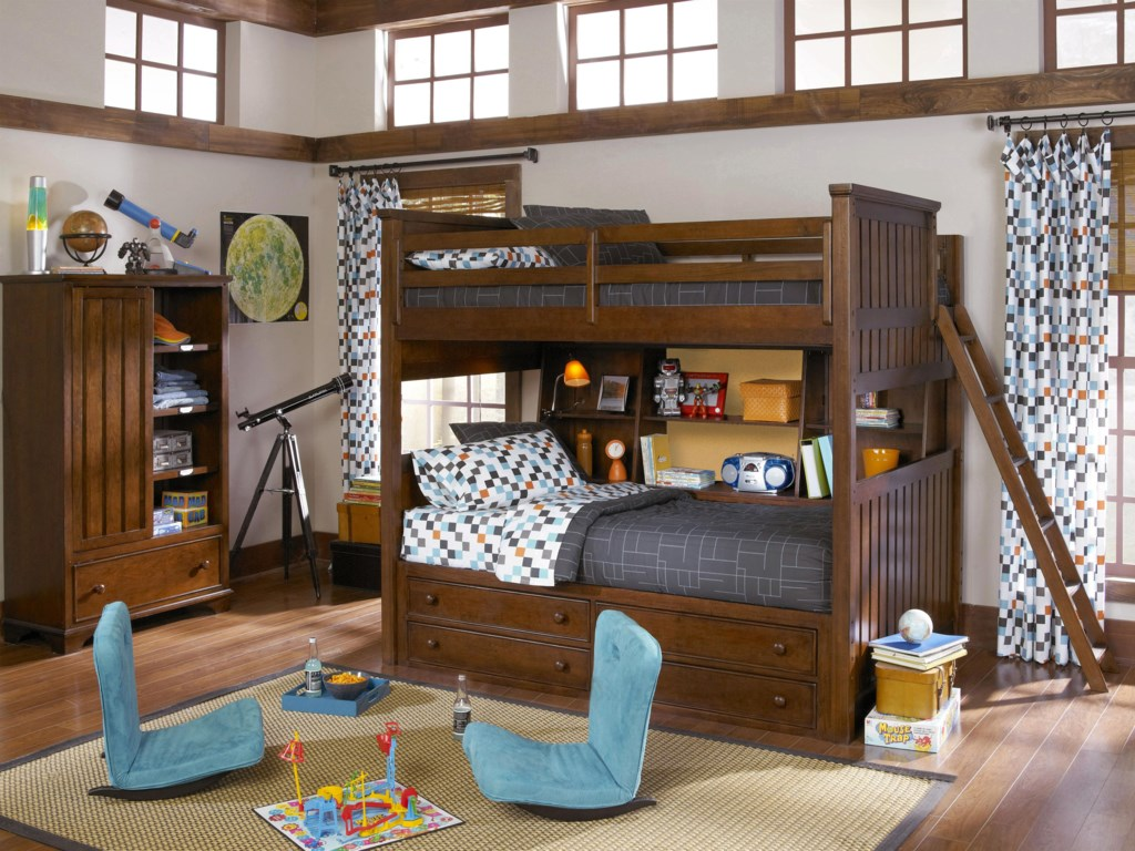 Shown with Bookcase Locker, Bunk Bookcase Unit and Underbed Storage Unit.  Bed Shown Does NOT Represent Size Indicated