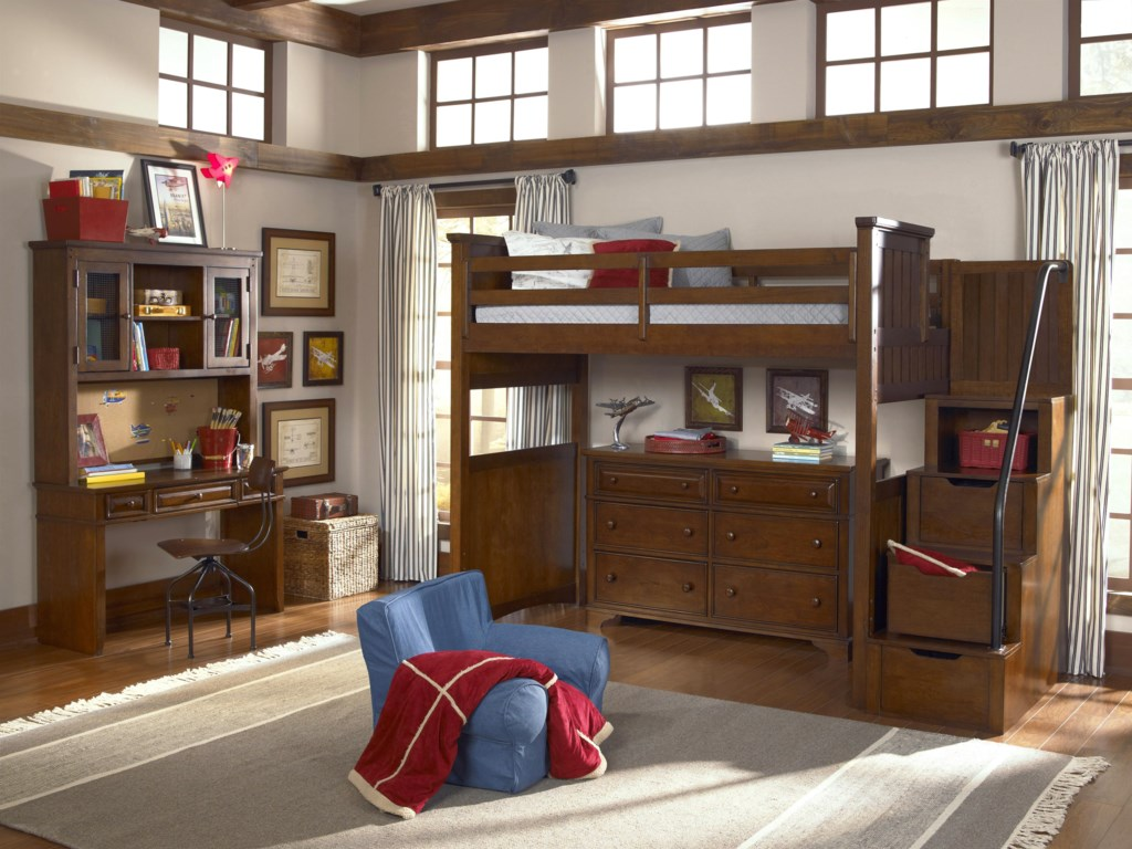 Loft Shown Does NOT Represent Size Indicated.  Shown with Desk & Hutch, Chair, Dresser and Stair & Handrail Storage Pedestal (Sold Separately; Replaces Ladder)