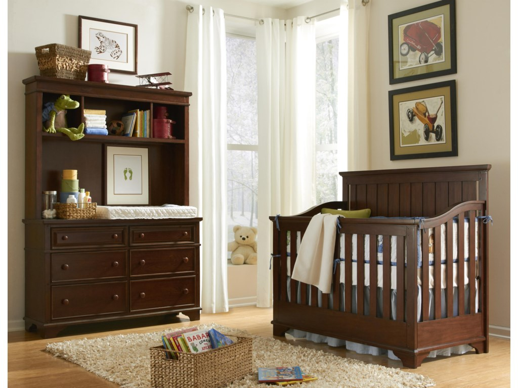 Crib Shown with Changing Station and Bookcase Hutch