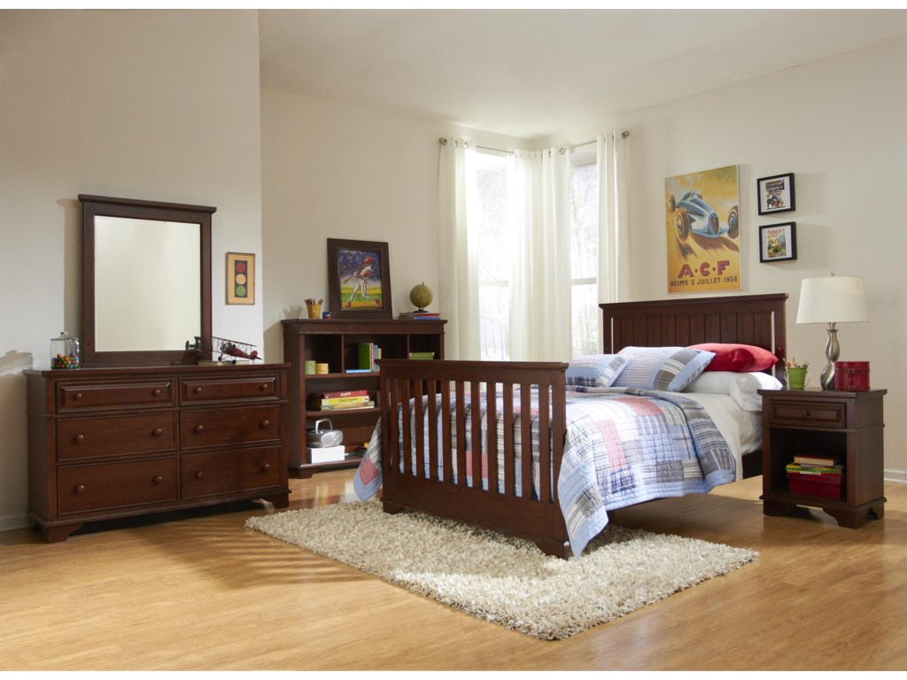 Crib Shown as Converted to Full Size Youth Bed, with Nightstand, Bookcase, Dresser and Mirror