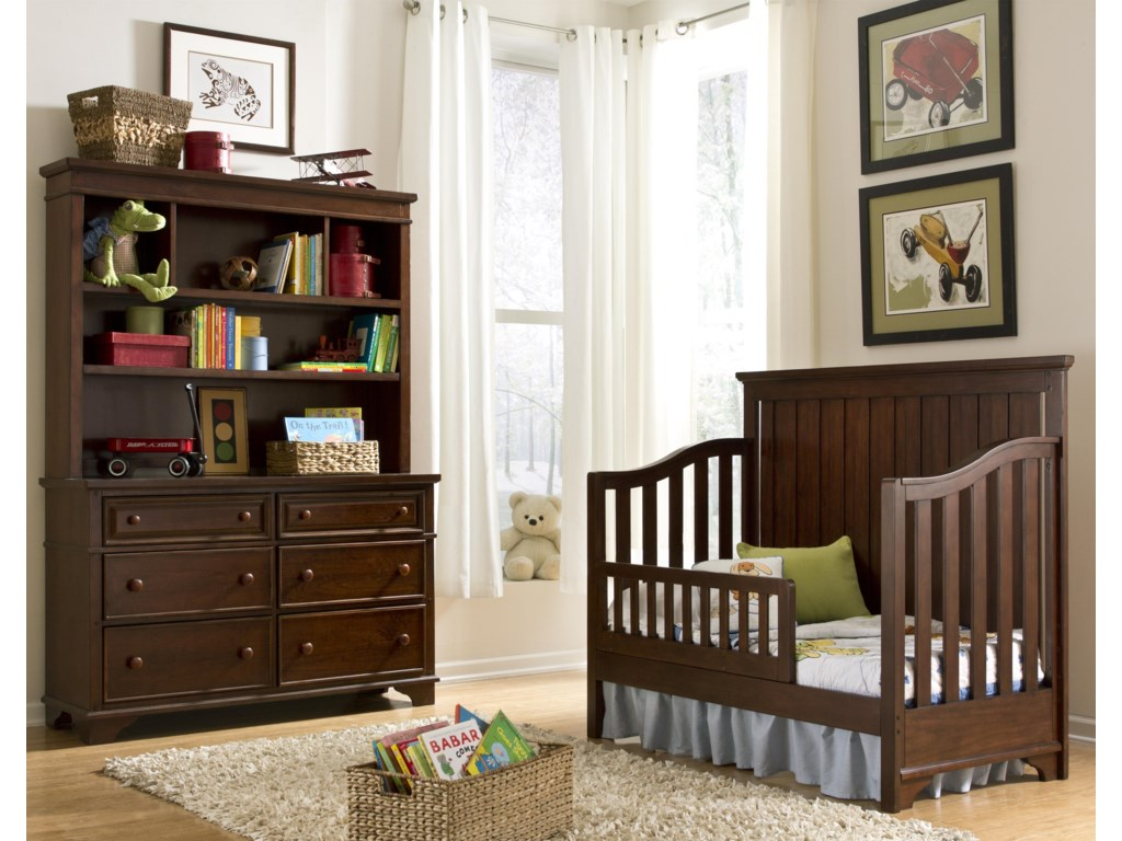 Shown with Changing Station, Bookcase Hutch and Toddler Bed and Guard Rail Crib Conversion