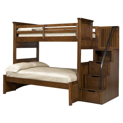 Legacy Classic Kids Dawson's Ridge Twin-over-Full Bunk with Stair and Handrail Storage Pedestal