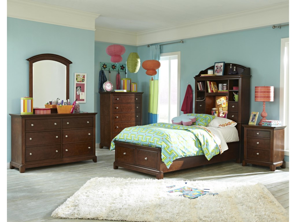 Shown with Dresser Mirror, Drawer Chest, Bookcase Bed with Storage Footboard and Nightstand