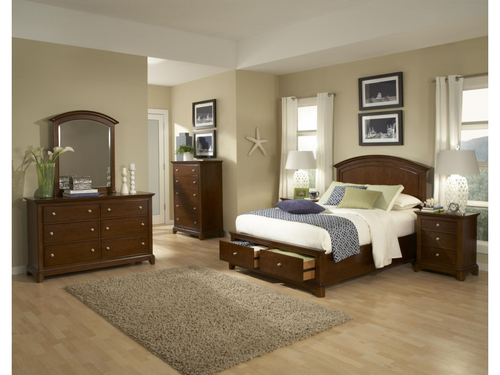 Shown with Dresser, Dresser Mirror, Panel Bed with Storage Footboard and Nightstand