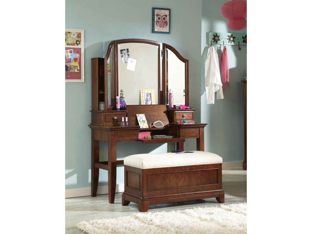Shown with 3-Panel Vanity Mirror and Bench