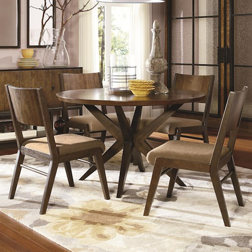 Legacy Classic Kateri 5 Piece Pedestal Table and Wood Back Chairs Set