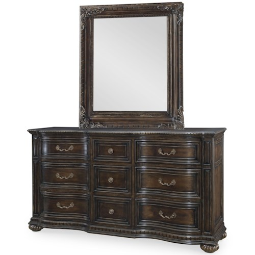 Legacy Classic La Bella Vita 9-Drawer Dresser and Mirror Set with Dentil Molding