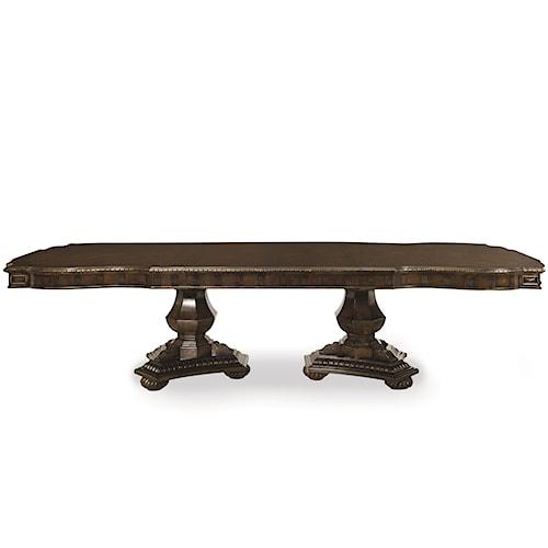 Legacy Classic La Bella Vita Double Pedestal Table with Dentil Molding