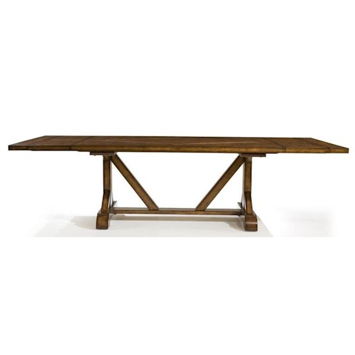 Legacy Classic Larkspur Rectangular Trestle Table with Flatware Storage