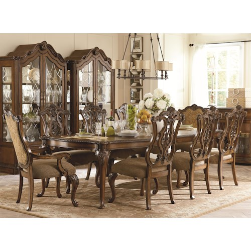 Legacy Classic Pemberleigh 9 Piece Rectangle Leg Table and Chairs Set