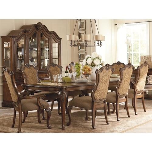 Legacy Classic Pemberleigh 9 Piece Rectangle Leg Table and Upholstered Chairs Set