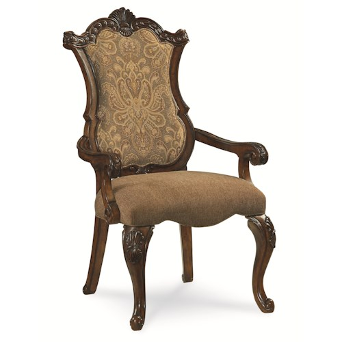 Legacy Classic Pemberleigh Upholstered Arm Chair with Cabriole Legs and Scroll Feet