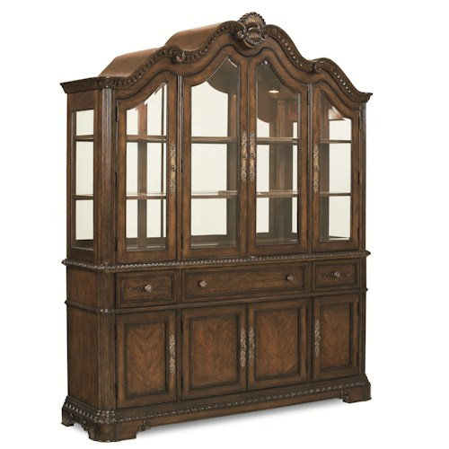 Legacy Classic Pemberleigh Dining Buffet and Hutch with Glass Doors and Mirrored Back