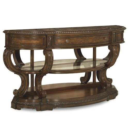 Legacy Classic Pemberleigh Console Table with Marble Top Inlays and Antique Mirrored Back