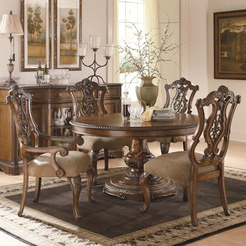 Legacy Classic Pemberleigh 5 Piece Table and Chairs Set with Single Pedestal Table and Pierced Back Chairs
