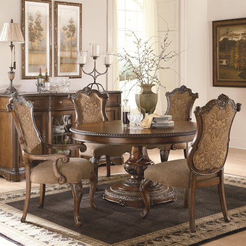 Legacy Classic Pemberleigh 5 Piece Table and Chairs Set with Single Pedestal Table and Upholstered Chairs
