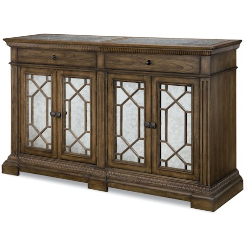 Legacy Classic Renaissance Credenza with Marble Top and 4 Antiqued Mirror Doors