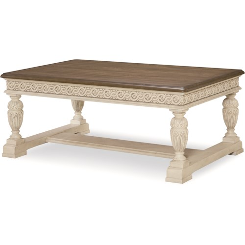 Legacy Classic Renaissance Cocktail Table with Antique White Base