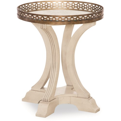 Legacy Classic Renaissance Gallery Round End Table with Brass Railing
