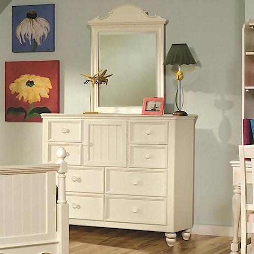 Legacy Classic Kids Summer Breeze 8 Drawer Dresser & Vertical Scroll Top Mirror