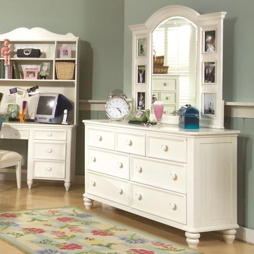 Legacy Classic Kids Summer Breeze 7 Drawer Dresser & Landscape Photo Dresser Mirror