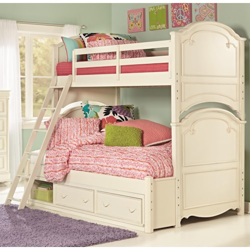 Legacy Classic Kids Charlotte Twin Over Full Bunk Bed with Underbed Storage Unit
