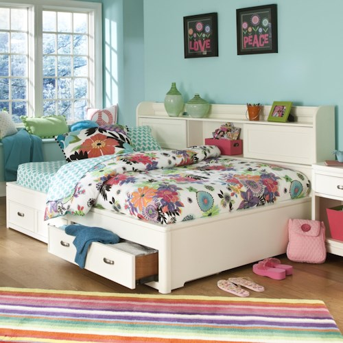 Legacy Classic Kids Park City White Twin Size Study Lounge Bed with 2 Drawers