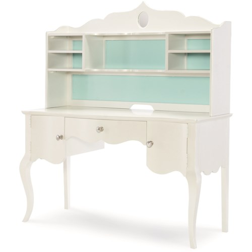 Legacy Classic Kids Tiffany Traditional Table Desk and Hutch with 2-Doors and Drawer