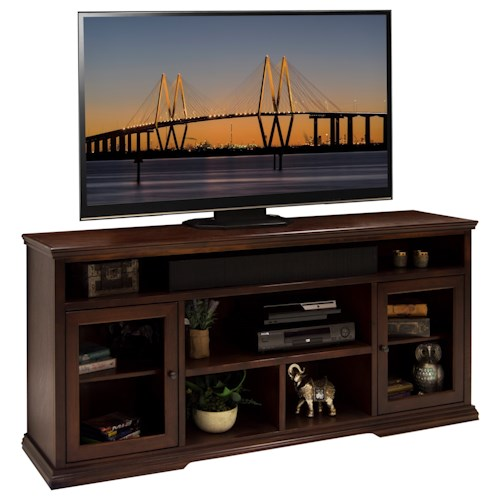 Legends Furniture Ashton Place 74-Inch Tall TV Cart with Doors and Shelf Storage