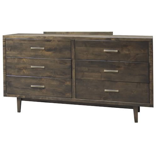 Legends Furniture Avondale Mid-Century Modern 6 Drawer Dresser With Slender Tapered Legs