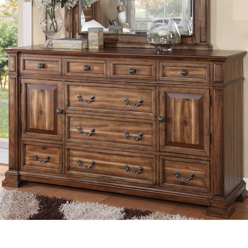 Legends Furniture Barclay Dresser with 9 Drawers and 2 Doors