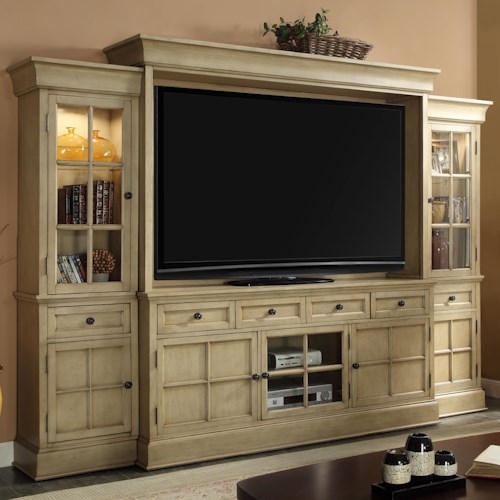 Legends Furniture Bristol Collection Entertainment Wall Unit in Distressed Tusk Finish