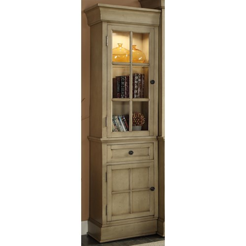 Legends Furniture Bristol Collection Left Bookcase Pier with Tempered Glass Door