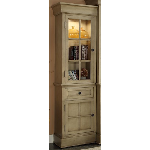 Vendor 1356 Bristol Collection Right Bookcase Pier with Tempered Glass Door