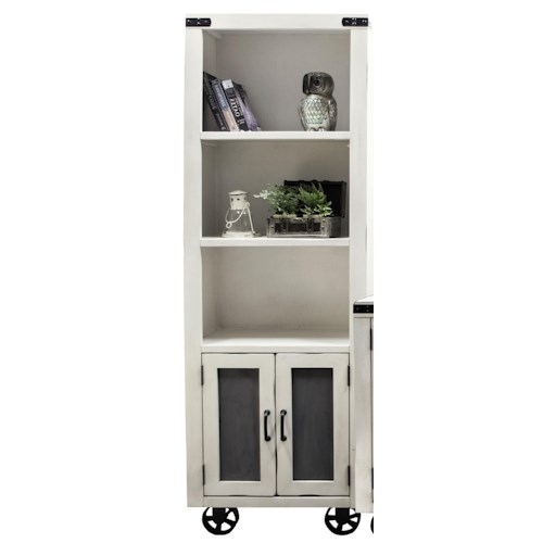 Legends Furniture Passport Pier with Two Shelves and Bottom Wheel Design