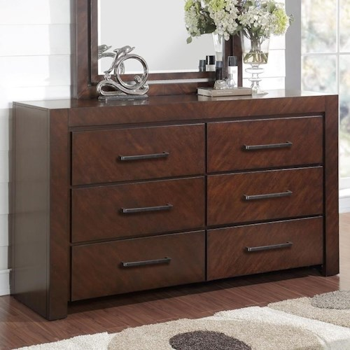 Legends Furniture City Lights 6 Drawer Dresser with Top Felt-Lined Drawers