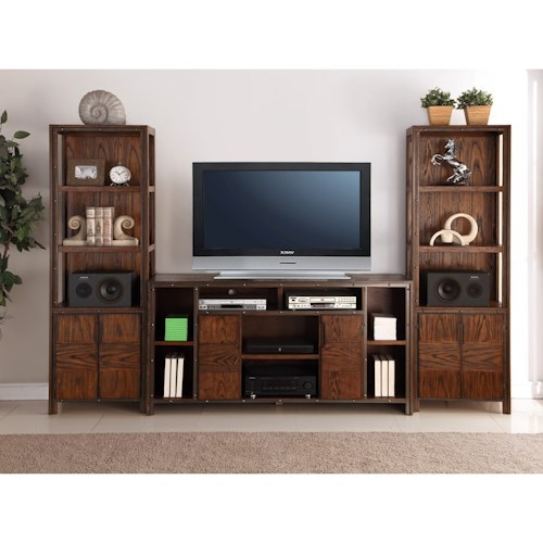 Legends Furniture Crossgrain Collection Entertainment Wall Console with Sound Bar Inset